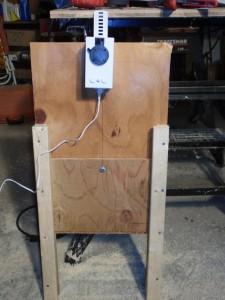 The new chicken door in the open position.