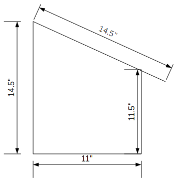 2D Drawing shows the dimensions of an external chicken nest box.