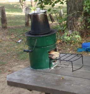 Percolator on top of rocket stove.