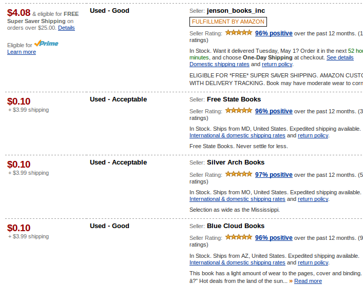 Screen capture of different sellers offering the used book.