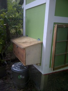 chicken coop with external nest box