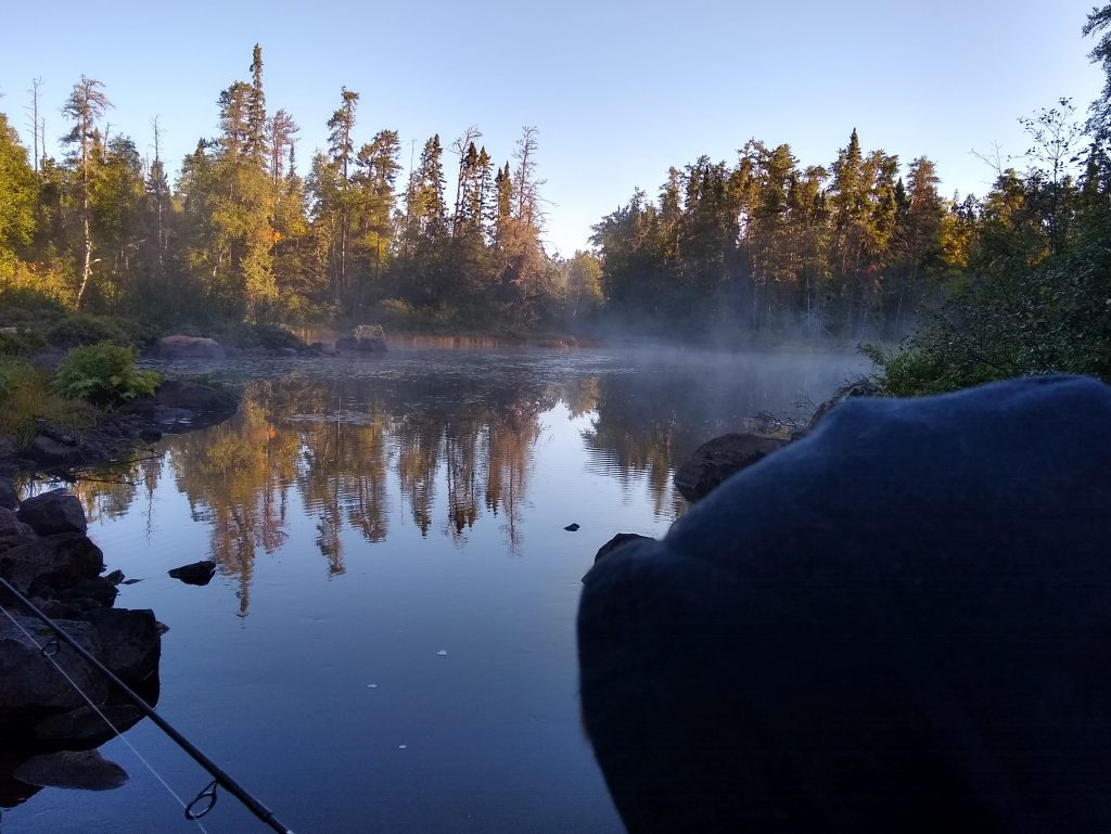 Misty morning fishing spot