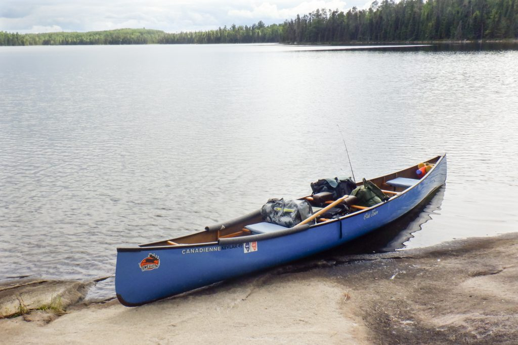 canoe landing at camp site