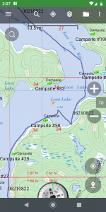 gps track showing hard right turn to shore