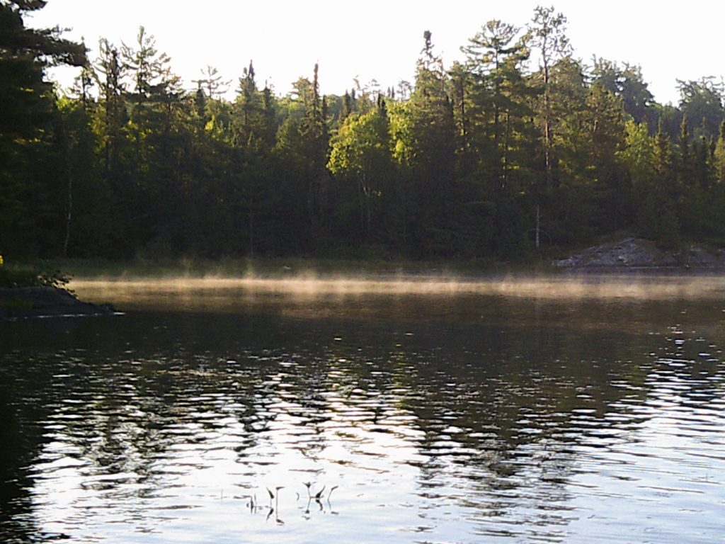 morning mist rising on Little Loon Lake