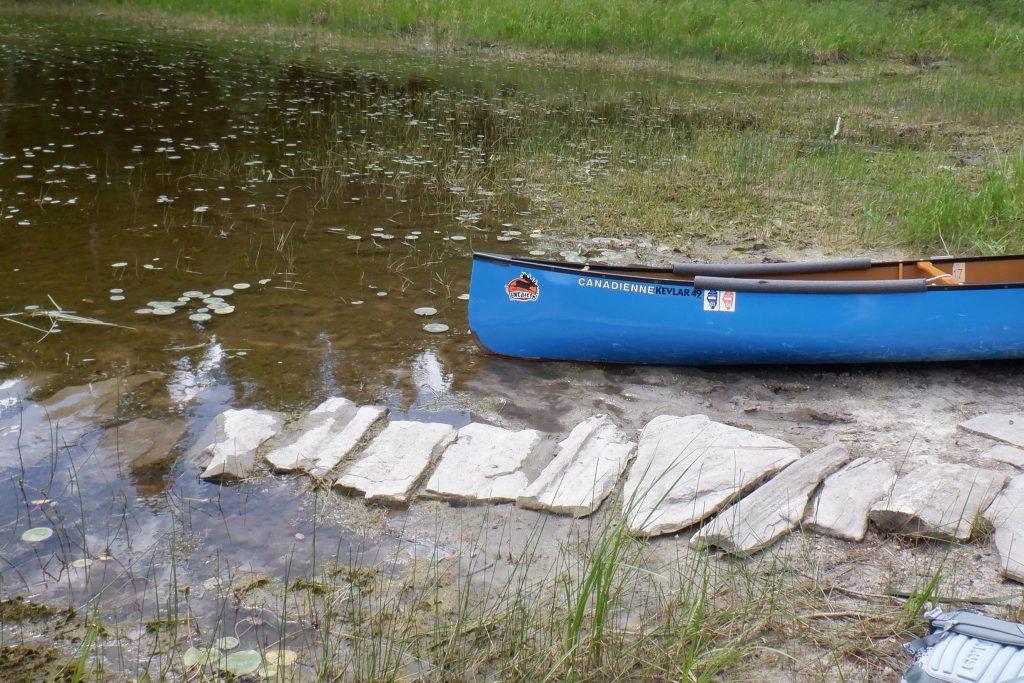 canoe at portage landing