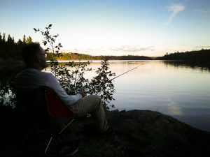 fishing from shore on Little Loon Lake