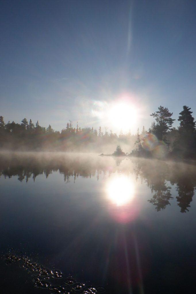 sunrise over island on Horseshoe Lake